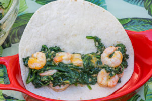 Folding Chile Cheese Shrimp and Spinach Enchiladas